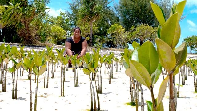 Eine Frau hockt zwischen Pflanzen.