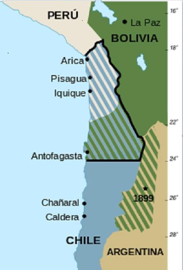 Karte, Landverluste Boliviens im Pazifik-Krieg