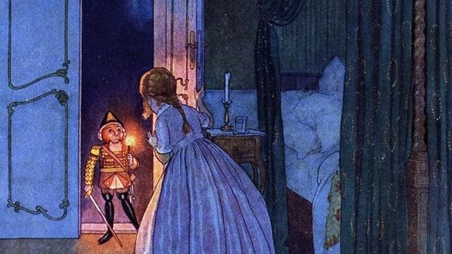 Eine Illustration aus dem Jahr 1924 aus der Erzählung «Nussknacker und Mausekönig» zeigt, wie das Mädchen Maria mit dem Nussknacker spricht.