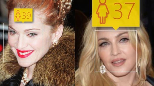 Ein Splittscreen mit zwei Bildern von Madonna, links alt und rechts neu.