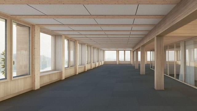 Fertiger Büroraum mit viel Holz.