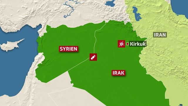 Karte Syrien und Irak
