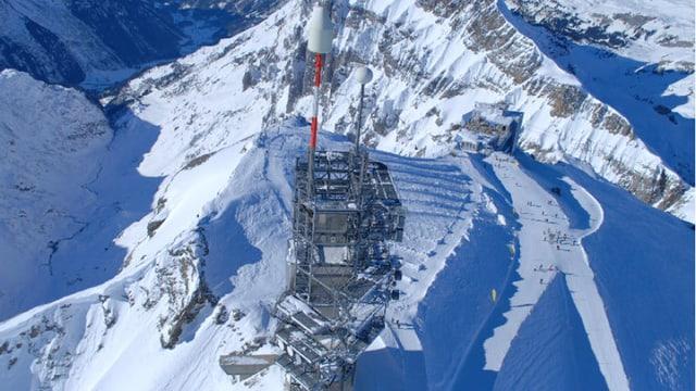 Schneebedeckte Bergspitze mit einer Richtstrahl-Antenne darauf.