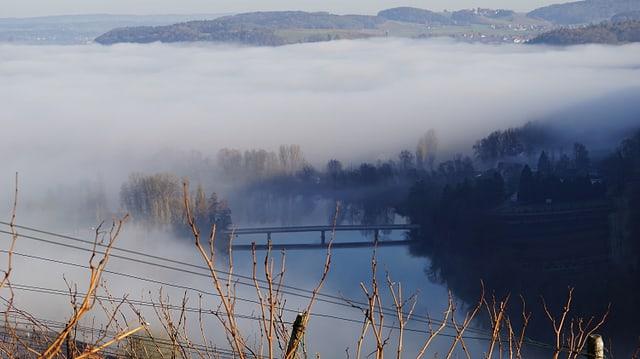 Am Jurasüdfuss und dem Rhein entlang, wie hier in Rüdlingen, war der Nebel zum Teil zäh.