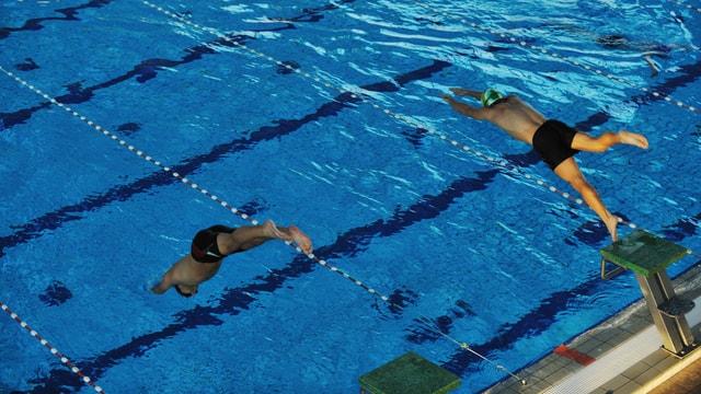 Zwei Schwimmer springen ins Wasser.