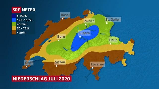 Schweizer Karte mit eingefärbten Flächen. Blau in der Zentralschweiz, braun im Jura, in der Nordwestschweiz, im Wallis und im Süden.