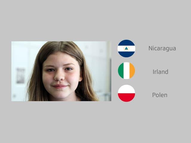 Drei Flaggen und ein Porträt eines Mädchens.
