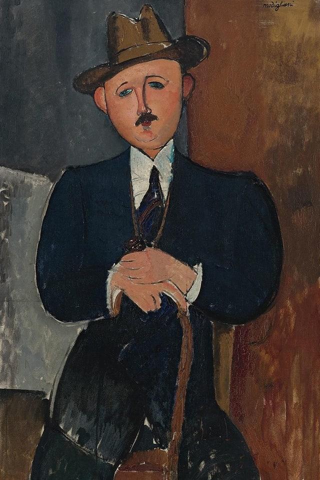 Sitzender Mann mit Srock, 1918, Amadeo Modigliani