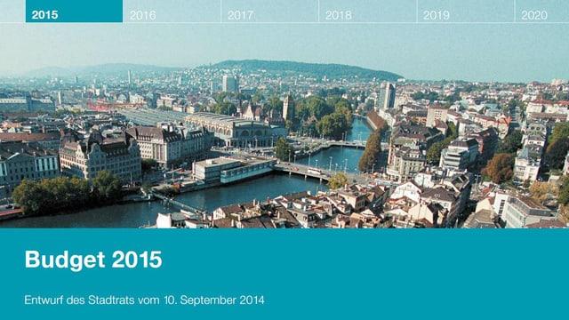 Ausschnitt aus dem Deckblatt des Budgetentwurfs mit einer Panoramaansicht der Stadt Zürich