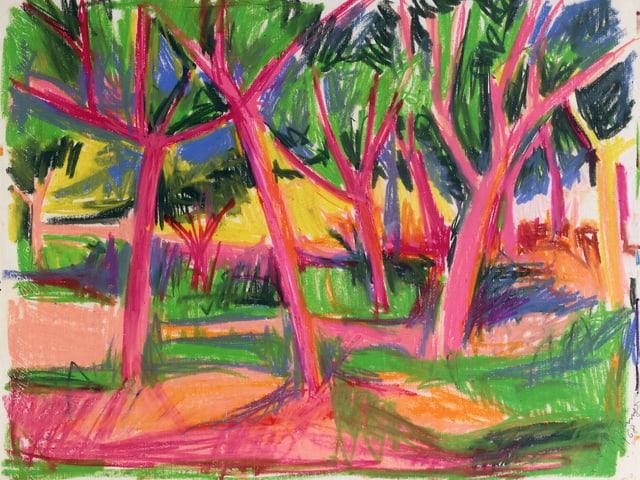 Bäume in kräftigem Pink auf grün/pinker Wiese, dazwischen blaue Flächen.