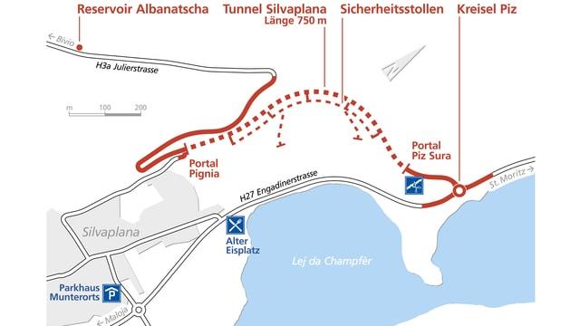 Karte zeigt neue Strassenführung von St.Moritz auf den Julierpass.