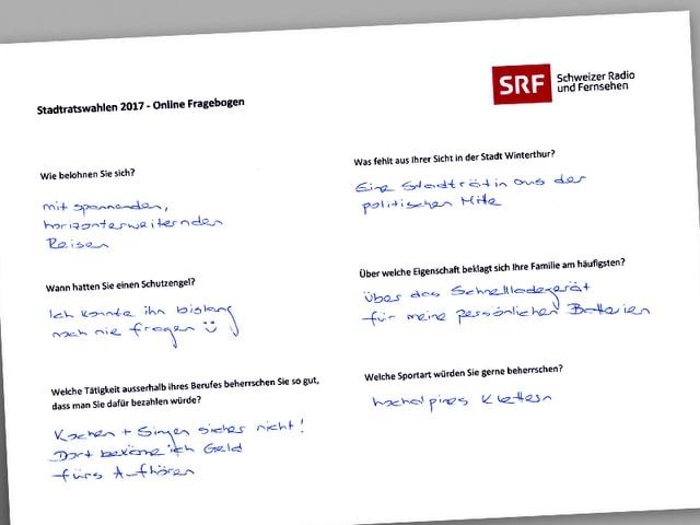 Ein Fragebogen mit handschriftlichen Antworten.