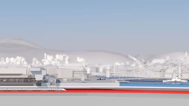 Seitenansicht des geplanten Durchgangsbahnhofs.
