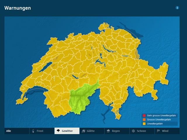Die Schweizerkarte ist ausser dem Oberwallis überall gelb eingefärbt.