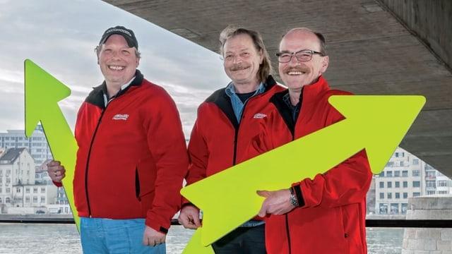 Die drei Stadtführer Wolfgang Kreibich, Rolf Mauti und Markus Christen (von links).