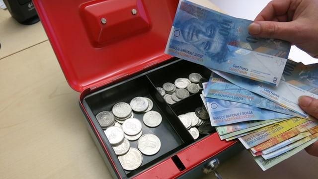 Kasse mit Geld.