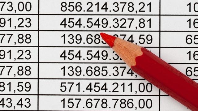 Abrechnung, wobei eine Zahl rot eingekreist ist. Daneben liegt ein Rotstift.