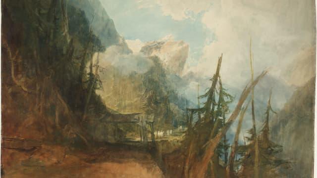 Ein Aquarell von William Turner: Landschaftsbild mit den Alpen im Hintergrund.