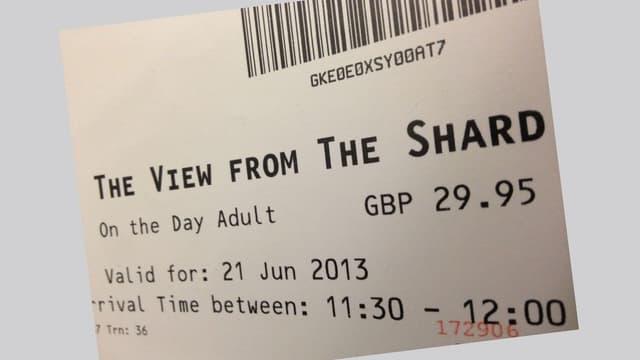 Ticket für die Liftfahrt auf den Londoner Aussichtsturm «The Shard»