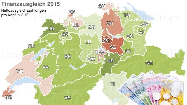 Karte der Schweiz mit eingefärbten Kantonsfächen je nach Finanzausgleich