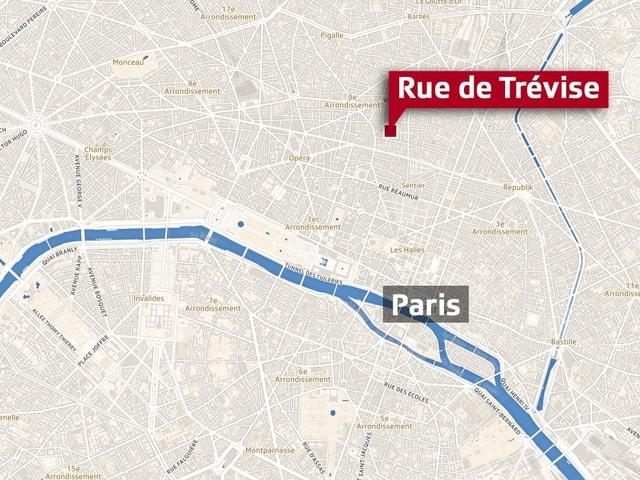 Die Explosion ereignete sich in der französischen Hauptstadt in der Nähe der Rue de Trévise.