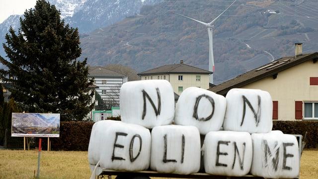Widerstand gegen den Ausbau der Windkraftanlage in Charrat (VS)