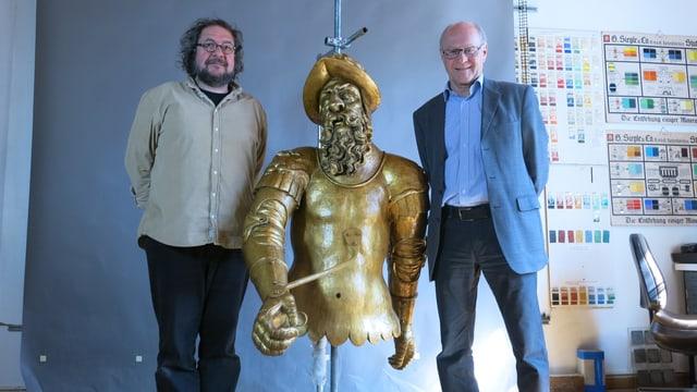Hans von Thann mit seinen Gefährten: Restaurator Michael Fischer (l.) und Markus Marti.
