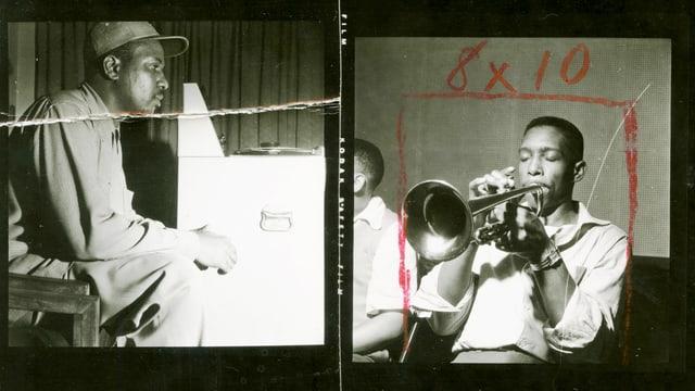 Zwei Männer spielen Trompete und Klavier.