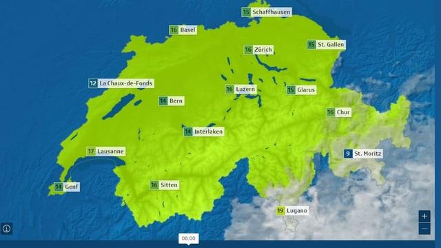 Wetterkarte ohne Hochnebel