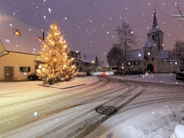 Schneefall in Muttenz.