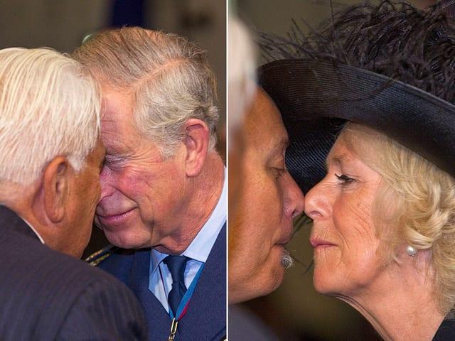 Charles und Camilla geben neuseeländischen Maoris einen sogenannten Hongi.