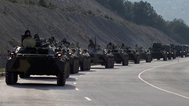 Eine Reihe von gepanzerten Fahrzeugen auf einer Strasse der Krim.