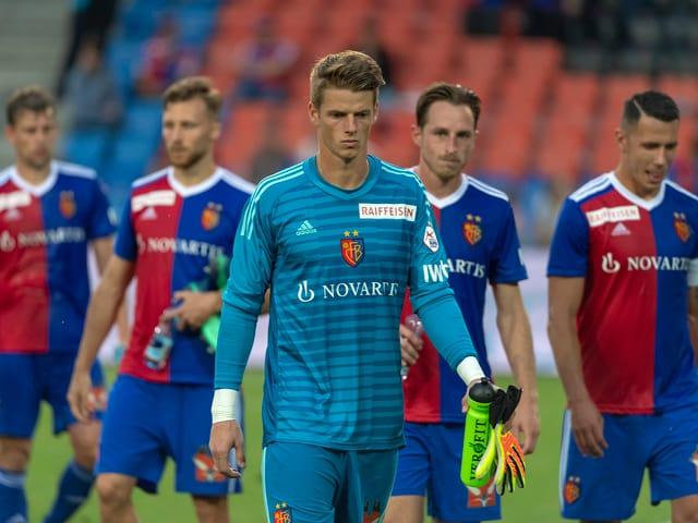 Frei, Widmer, Omlin, Zuffi und Suchy nach der Heimniederlage gegen den FC St. Gallen.