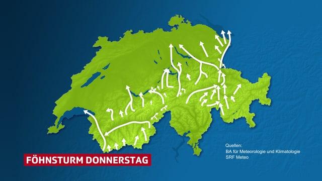 Schweizer Karte mit Windpfeilen für den Föhnsturm vom Donnerstag