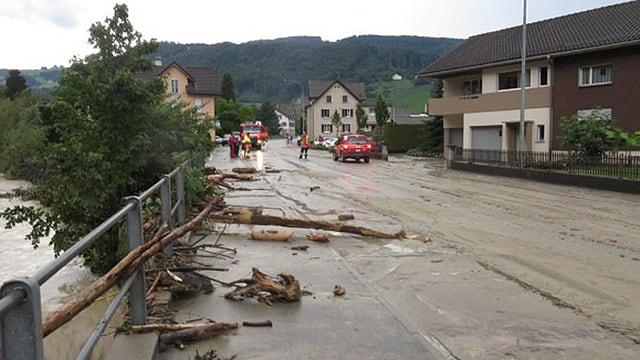 überschwemmte Strasse, Dorf, Feuerwehr