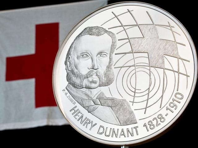 Gedenkmünze für Henry Dunant, der das Rote Kreuz nach seinen Kriegserfahrungen ins Leben rief.
