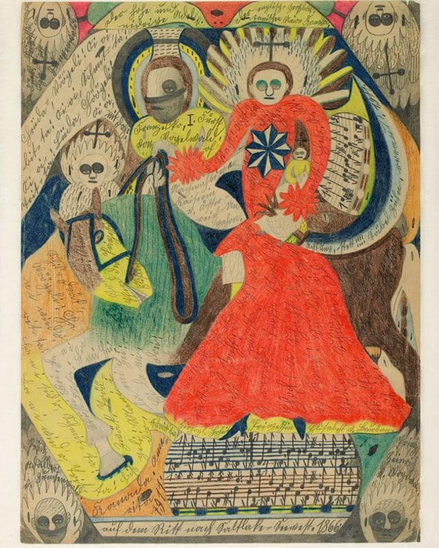 Farbiges Bild mit Figuren und Musiknoten
