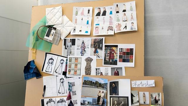 Eine Wand mit Fotos von Kreationen von Sabine Portenier.