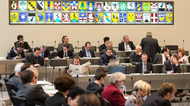 Aufnahme einer Debatte im Grossratssaal.