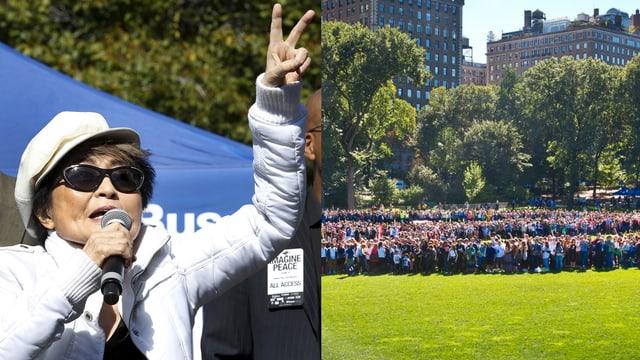 Bildmontage: links Yoko Ono mit Peacezeichen, rechts Wise mit Menschen, die ein Peace-Zeichen formieren.