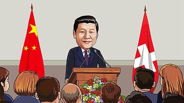Comic: Xi spricht vor den Bundesräten