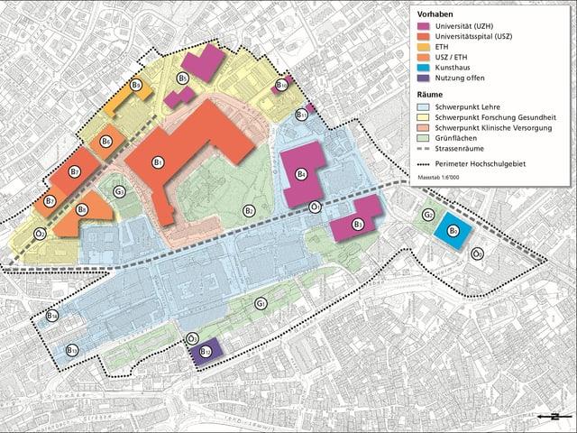 Plan des Perimeters - die verschiedenen Bauträger sind mit verschiedenen Farben eingezeichnet.