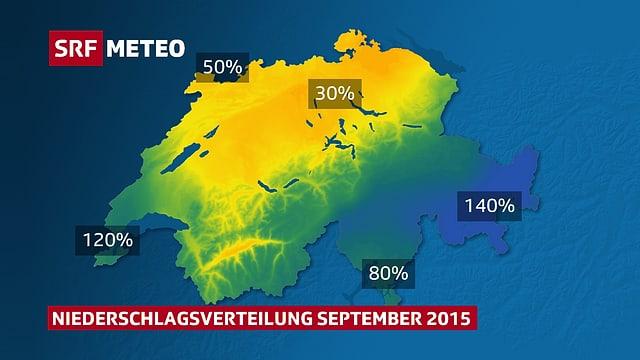 Eingefärbte Schweizer Karte gemäss dem bisher gefallenen Niederschlag im September 2015.