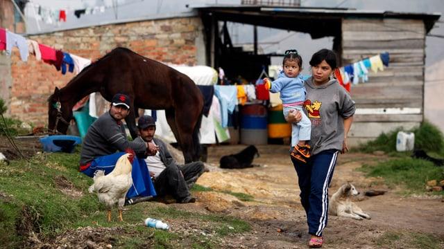 Kolumbianische Flüchtlinge in einem Camp in der Nähe Bogotás.