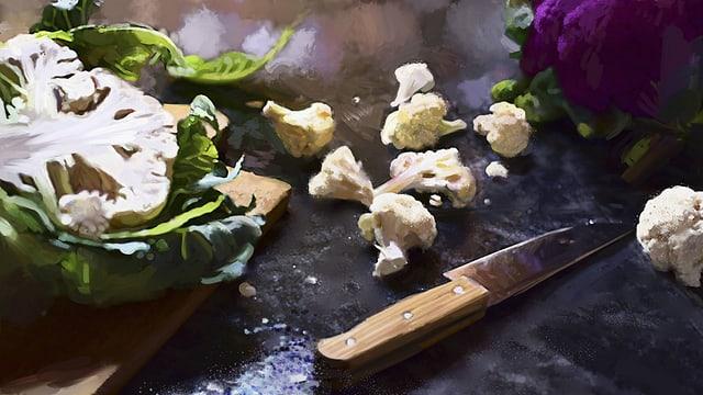 Gemaltes Bild einer Arbeitsfläche, auf der ein weisser und ein violetter Blumenkohl sowie ein Messer liegen.