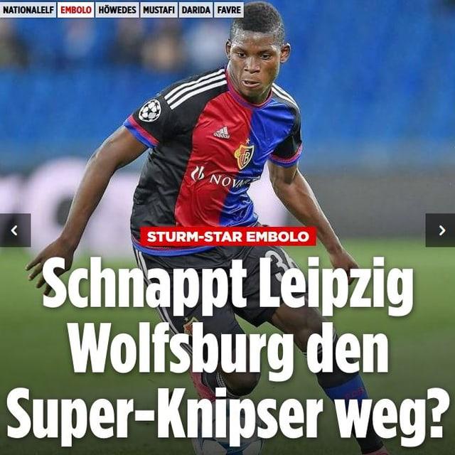Titleblatt der Bild mit der Aufschrift: «Schnappt Leipzig Wolfsburg den Super-Knipser weg?»