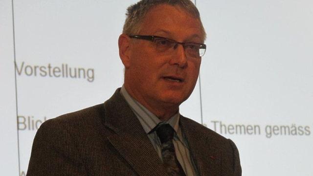 Porträtfoto von Urs-Martin Koch. Graue, kurze Haare, Brille, Anzug mit Krawatte.