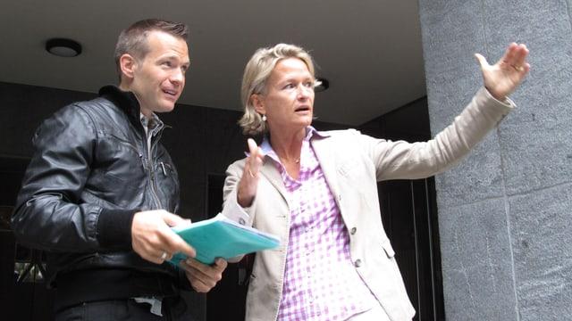 Die Parteipräsidenten in der Diskussion über die Zukunft der ZHB: Marco Müller (Grüne) und Andrea Gmür (CVP).