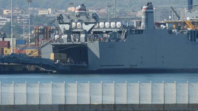 Das US-Spezialschiff «Cape Ray» Anfang Juliu im Hafen von Gioia Tauro in Süditalien.