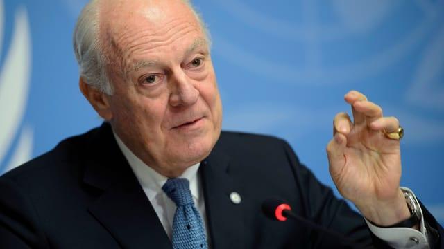 Staffan de Mistura spricht vor der UNO.
